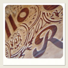 Pyrography in wooden boxes