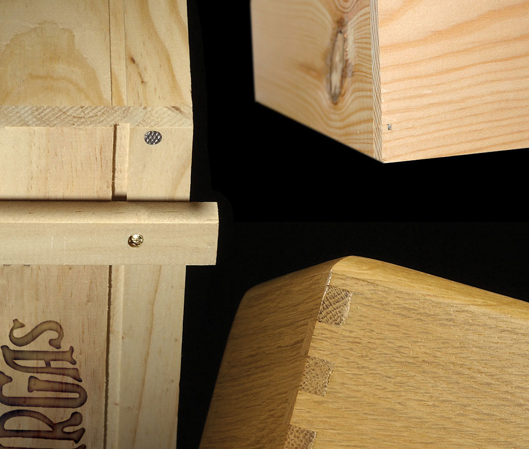 Raised boxes and cases of interlaced wood